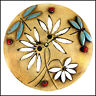Daisy Clock with Turquoise Dragonflies + Ladybirds by Maggie Betley Zoo Ceramics