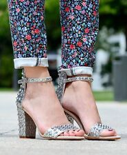 ZARA Silver Sparkle Glitter Studded Sandals Heels Block Heel Heels UK 7 Euro 40