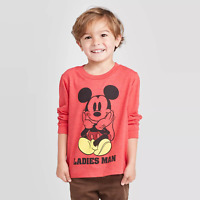 Toddler Boys Disney Mickey Mouse Ladies Man Red LS Shirt Valentines Day Top