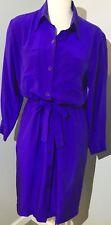 DIANE VON FURSTENBERG Size 8 Purple SILK Collared Long Sleeve Shirt Dress 487P