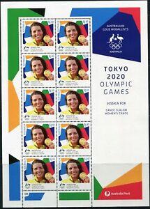 2021 Australia Tokyo Olympic Gold Medal Women's Canoe Slalom Sheetlet Of 10 MNH