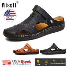Mens Sport Closed Toe Sandals Summer Leather Shoes Beach Fisherman Flat Slippers