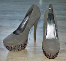 NEW STEEL GREY SUEDE BEJEWELLED PLATFORM HEELS 7 sparkle purple diamante SHOE