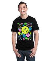 Neon Smiley Faces T-Shirt, Cotton Blend,Black (Adult's Size: S,M,L, XL)
