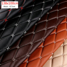 Thick Faux Leather Fabric Sponge Quilted Embroidered Car Interior Material Trims
