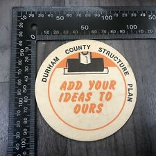 AUTHENTIC VINTAGE CARDBOARD BEER MAT COASTER DURHAM COUNTY STRUCTURE PLAN