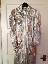 Couture Kleid 30's Glam Metallic Seide Silber Lame Vintage langen Zug