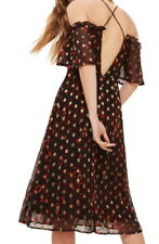 Topshop Fiery Polka Dot Dress 8 Medium Red + Shimmering Gold Overlay Strappy NWT