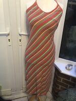 Seasalt Orange Stripe Halter Neck Dress Size 10 Organic Cotton G12