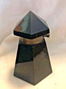 Victorian Opaque Black Glass Hexagon Ink Bottle