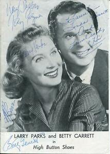 Larry Parks Betty Garrett Ray Rayner Linda Benett +1 Autograph Signed Playbill