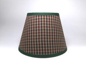 Country Primitive Green Burgundy Check Homespun Fabric Lampshade Lamp Shade