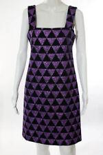 VERSUS by VERSACE - Black Purple Disco Diamond Glitter Knee Length Shift Dress 6