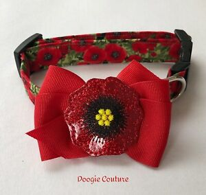Red Poppy Dog Collar With Bow Size XS-L by Doogie Couture