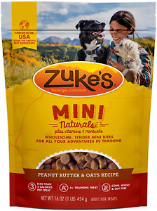 Zuke's Mini Naturals Dog Treats, Fresh Peanut Butter Formula, 16-Ounce