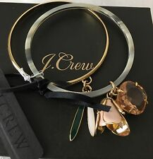 NWT Authentic Flower charm bangle set With J Crew Bag