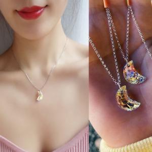 Natural Aurora Borealis Moon Shaped Pendant Rainbow Crystal Silver Necklace Gift