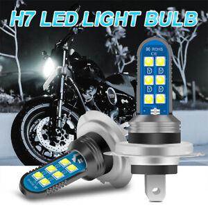 2x DC 12-36V H7 Motorcycle LED Headlight Bulbs Fog Lamp Hi/Lo 6000K Offroad SUV