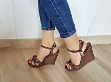Sandali zeppa donna fantasia fiori, scarpe sandali zeppa  a fiori cinturino