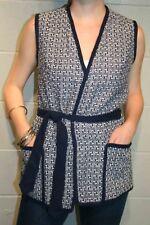 S~M Vtg 70s NOS Blue Woven Boho Vest Belted Wrap Knit Pocket ROCHELLE NWT Top
