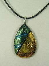"BUTW Gorgeous Dichroic Glass 49.9mm 2Tone Tear Pendant 16-18"" Leather Cord 8693D"