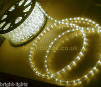 WARM WHITE LED ROPE LIGHT OUTDOOR LIGHTS CHASING STATIC CHRISTMAS XMAS GARDENS