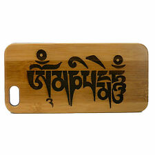 Sanskrit Mantra Case for iPhone 6 6S Bamboo Wood Cover Om Mani Padme Hum Buddha