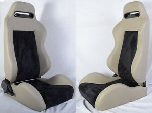 NEW 2 GRAY & BLACK RACING SEATS RECLINABLE + SLIDERS ALL PONTIAC **