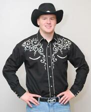 NEW! MEN'S WESTERN RETRO SHOW SHIRT - LEAF EMBROIDERY BLACK RED ROYAL WHITE