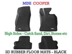 Fits Mini Cooper 2006-2013 Genuine 3D Black Rubber Floor Mats