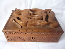 Antico DRAGO CINESE IN LEGNO INTAGLIATO IN RILIEVO Gioielli Ciondolo Box