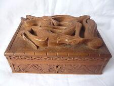 Antiguo Chino De Madera Tallada Dragon En Relieve Joyas Caja de la baratija