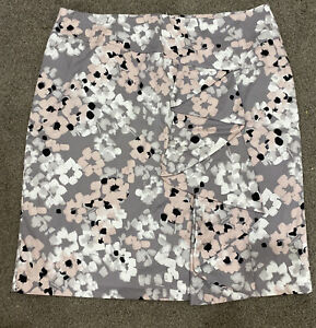 Jacqui E Skirt Floral Straight Skirt Size 18 Cotton Lined