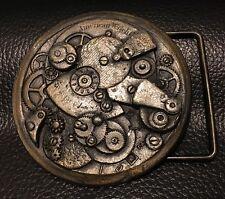 Vintage Steampunk Clock Pocket Watch Gears Brass Belt Buckle