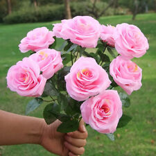 Large Pink 10 HEADS Artificial Rose Silk Flowers Flower Floral Fake Valentines