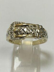 Unusual Gents 9 Carat Yellow Gold DIAMOND SET BUCKLE RING