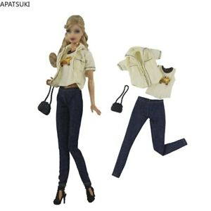 "Beige Clothes Set For 11.5"" 1/6 Doll T-shirt Coat Black Purse Fashion Outfits"