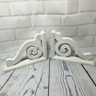 Pair Of Wooden White Painted Shelf Brackets Corbels Wall Mount Shabby Farmhouse