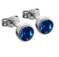 Paar Ohrstecker 925er Sterling Silber rhodiniert 5,50mm dunkelblau Zirkonia M54