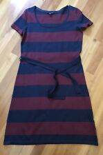Tommy Hilfiger Womans Dress Navy Burgundy Stripe Cotton Short Sleeve Belted S/P