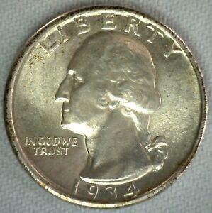 1934 Silver Washington BU Quarter US Coin Twenty Five Cents 25c UNC