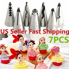 New 7pcs Icing Piping Nozzles Pastry Fondant Cake Decorating Tips Baking Tools