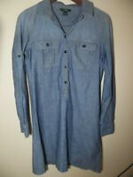 J CREW Women's Chambray Shirt Dress Tunic Size Small 100% Cotton Style 91659