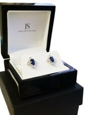 White Gold Finish Art Deco Blue Sapphire And Created Diamond STUD EARRINGS Gift