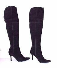 Women's Vintage NINE WEST Over Knee Black 100% Leather Suede Boots UK6 EUR39