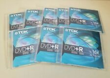 DVD+R 8 Pack Blank Discs Media TDK 4.7GB 16x New Discs With Jewel Cases Slimline