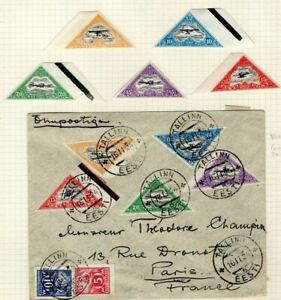 ESTONIA Air Mail Sets Used Cover & Mint MM First Imperf Issue Tallinn 1924 EP392