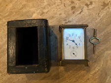 Bayard French Brass Cased Carriage Alarm Clock In Original Leather Case Dbl Key