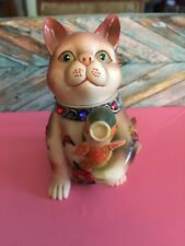 Nini Collectible Hand Painted Miniature Cat With Fish Teapot Trinket Box