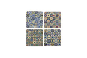 Set 4 French Shabby Chic Ceramic Tile Coasters Blue Patchwork Design FREE POST